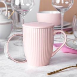 Kubek porcelanowy z zaparzaczem i pokrywką Altom Design Ballerina 300 ml różowy