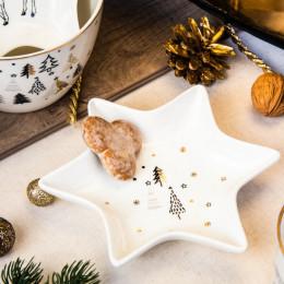 Naczynie/talerz/półmisek porcelanowy święta Boże Narodzenie Altom Design Nordic Forest choinki