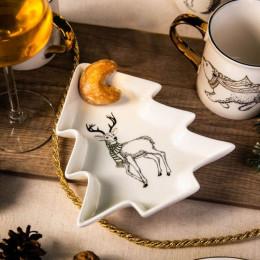 Naczynie/ talerz półmisek porcelanowy święta Boże Narodzenie Altom Design Nordic Forest renifer 17,5 cm