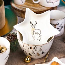 Naczynie/talerz/ półmisek porcelanowy święta Boże Narodzenie Altom Design Nordic Forest renifer
