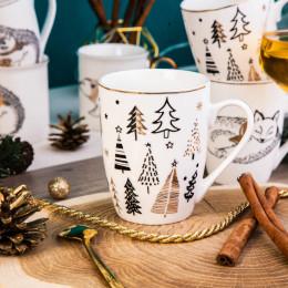 Kubek porcelanowy święta Boże Narodzenie Altom Design Nordic Forest Choinki 300 ml