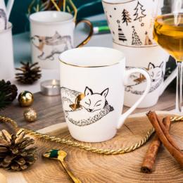 Kubek porcelanowy święta Boże Narodzenie Altom Design Nordic Forest Lis 300 ml