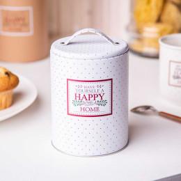 Puszka pojemnik na kawę.herbatę,cukier,produkty sypkie z pokrywą i uchwytem Altom Design Victoria Home biała