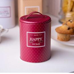 Puszka pojemnik na kawę/herbatę/cukier/produkty/sypkie z pokrywą i uchwytem okrągła Altom Design Victoria Home bordowa