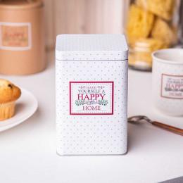 Puszka pojemnik na kawę/herbatę/cukier/produkty sypkie z pokrywą kwadratowa Altom Design Victoria Home biała