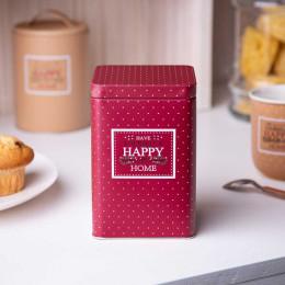Puszka pojemnik na kawę/herbatę/cukier/produkty sypkie z pokrywą kwadratowa Altom Design Victoria Home bordowa