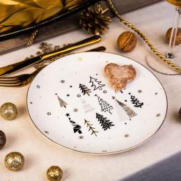 Talerz deserowy porcelanowy święta Boże Narodzenie Altom Design Nordic Forest 20 cm