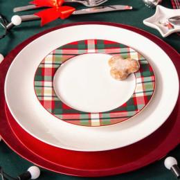 Talerz deserowy porcelanowy święta Boże Narodzenie Altom Design Victoria Red dekoracja kratka 19 cm