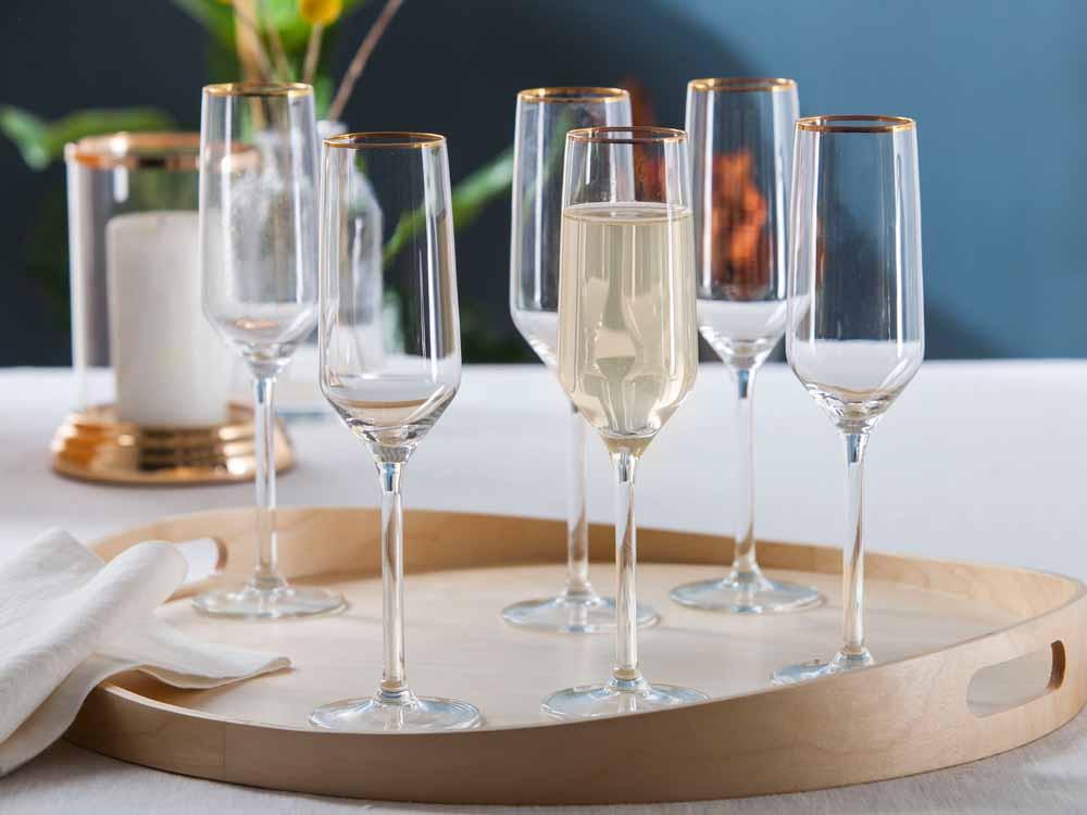 Kieliszki do szampana Altom Design Rubin Gold 220 ml komplet 6 sztuk