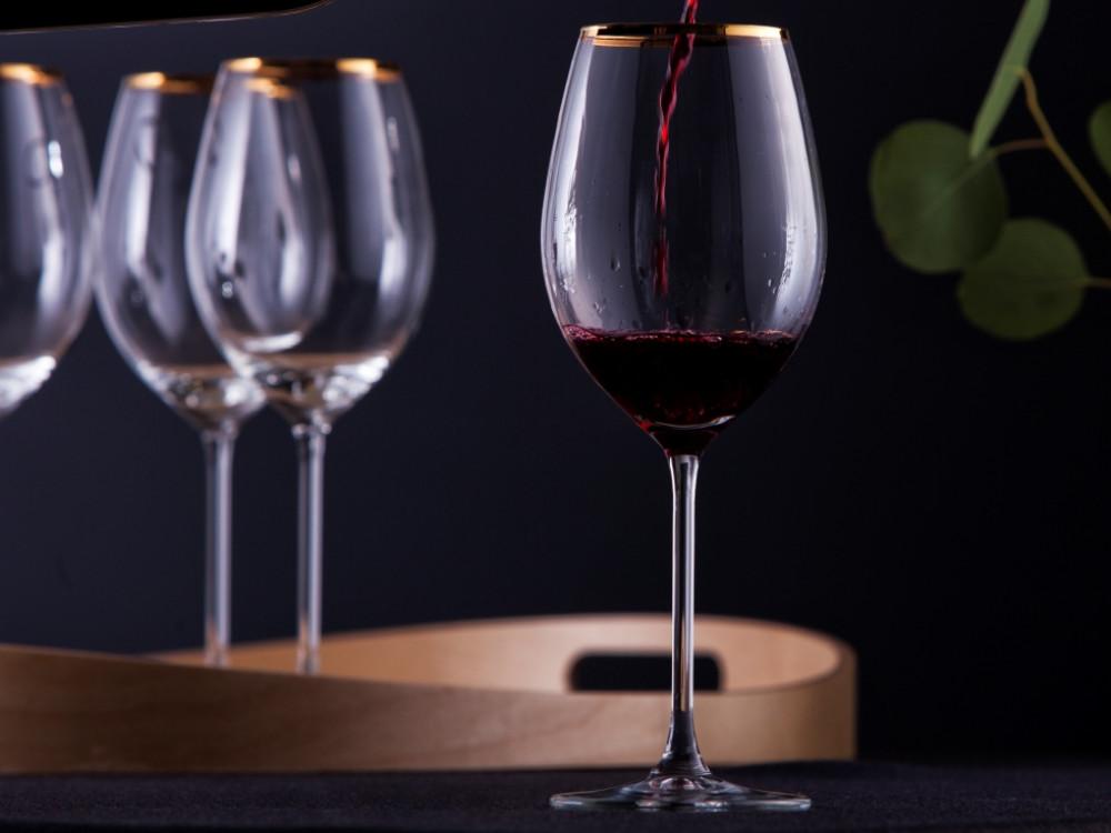 Kieliszki do wina czerwonego Royal Leerdam Avangarda gold 520 ml komplet 6 sztuk