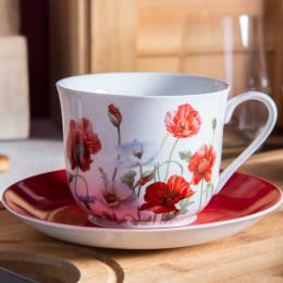 filiżanka do kawy i herbaty ze spodkiem porcelana Altom Design Maki 430 ml