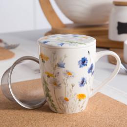 kubek porcelanowy z zaparzaczem stalowym i pokrywką Altom Design Chabry 300 ml