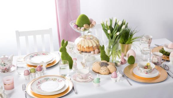 Wielkanocny stół z porcelaną Bella